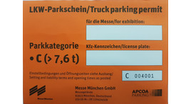Kleintranspoerter / LKW / Anhänger Dauerparkausweis, Parkkategorie C ab 7,5 t Publikumsmesse