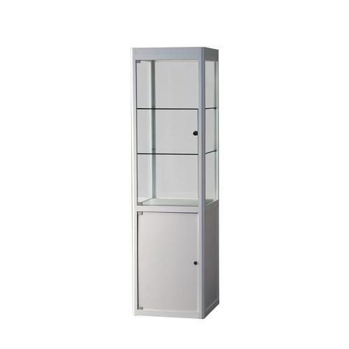 """Syma Easy"" Säulenvitrine mit Unterbau, Glas/weiß, 559701"