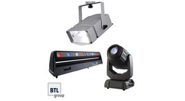 Effect lights and moving heads, HQI spotlights