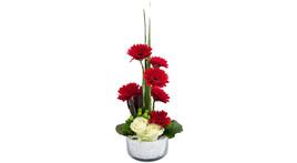 Floristik – Glasschale mit Gerbera rot und Rosen weiß