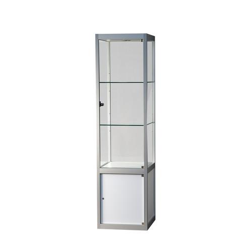 """Kappa"" Säulenvitrine mit Unterbau, Glas/weiß, 559900"