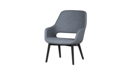 """Babila Comfort"" armchair, frame black, upholstery grey, 206300"