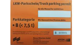 Kleintransporter / LKW / Anhänger Dauerparkausweis, Parkkategorie B 3,6 t bis 7,5 t
