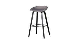 """About A Stool Black Edition"" Barhocker, Gestell schwarz, Polster grau, 343304"