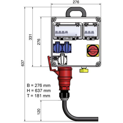 Main electrical connection hall up to 3 kW incl. consumption/earthing