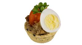 Mini-Croustade | Auberginenkaviar | Wachtelei(vegetarisch)
