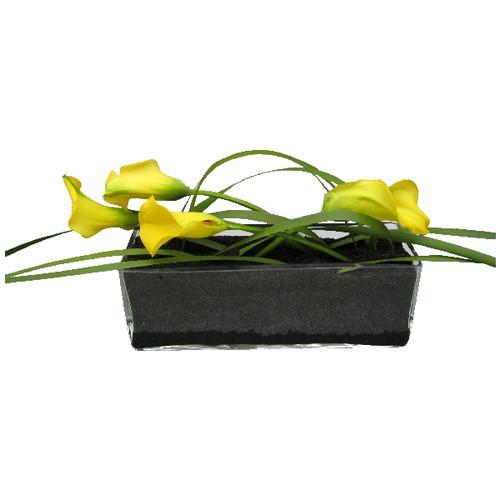 Floristik – Großer Glasquader mit Calla gelb und Gräser