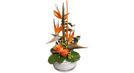 Floristik – Glasschale mit Strelitzia und Rosen, orange